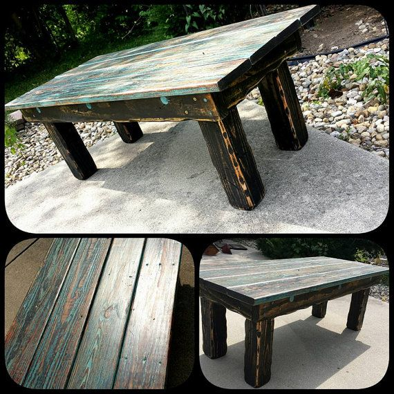 Distressed Blue Coffee Table: Unique Primtiques Reclaimed Wood Teal Blue Ebony