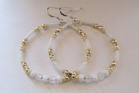 Hoop Earrings Beaded Earrings Boho Earrings by MyThingsWithBling