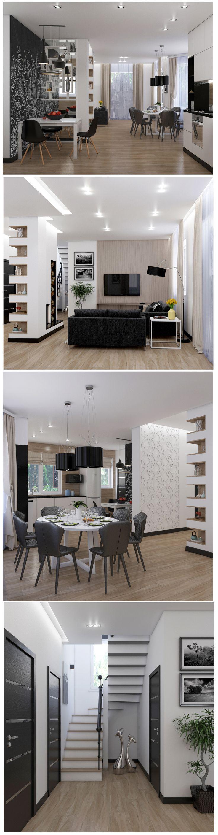 Home design, Дом в современном стиле - архитектура и дизайн интерьера, двухсторонний камин.