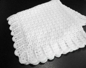 White Baby Blanket Afghan Crochet Christening by littledarlynns