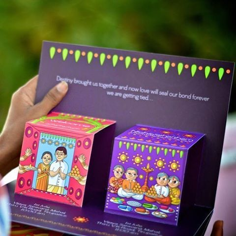 Pop up cards are all the rage and this fun one by @atmastudios is super popular on the WedMeGood website ! #cards #weddingcards #invitationcard #invites #instawedding #igers #cartoon #instapic #indianbrides #caricature #wedding #southindian #instadaily