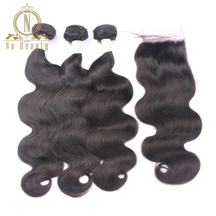 Brazilian Body Wave Human Hair 3 Bundles With Lace Closure Remy Hair Weaving Extensions Pre Plucked. #Brazilian #Body #Wave #Human #Hair #Bundles #With #Lace #Closure #Remy #Weaving #Extensions #Plucked