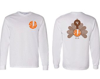 Adult Chevron and Polka Dot Monogram Turkey Adult Long Sleeve T-Shirt, Thanksgiving Monogram Clothing, Chevron Turkey