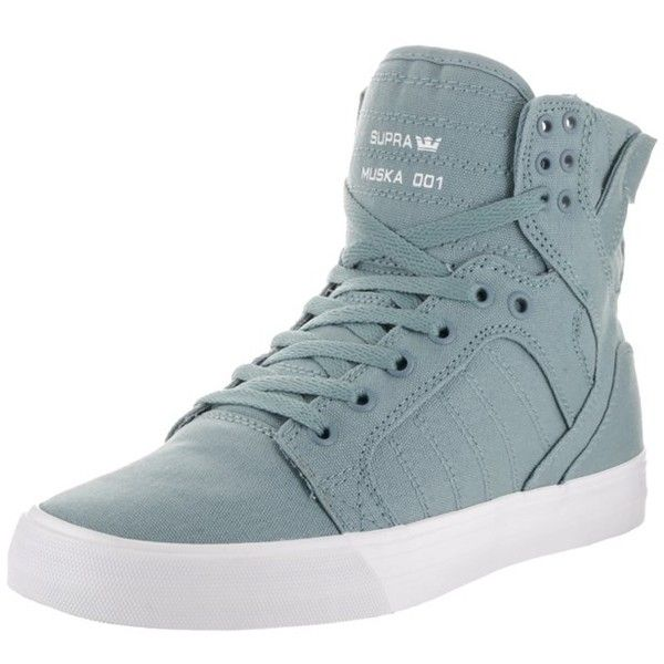 Supra Supra Men's Skytop D Skate Shoe | Bluefly.Com ($80) ❤ liked on Polyvore featuring men's fashion, men's shoes, men's sneakers, grey, shoes, mens grey high tops, mens high top sneakers, mens sneakers, mens high tops and mens gray dress shoes