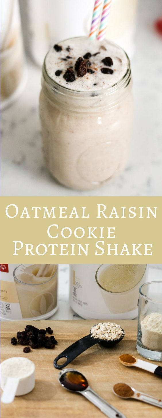 With 17 grams of protein this Oatmeal Raisin Cookie Protein Shake is the perfect post workout shake! Not to mention it tastes like a decadent treat! #ad #herbalife Herbalife