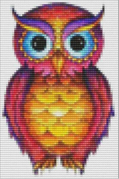 Rainbow owl cross stitch pattern