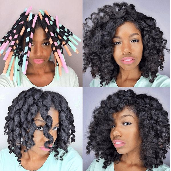 These Milkshake Straw Curls on Natural Hair are great for creating the wavy curly style.