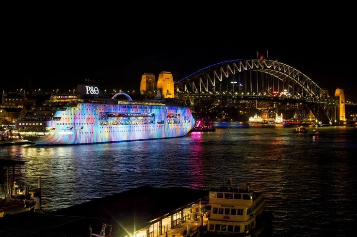 Cruise ship in Sydney Harbour during vivid June 2013