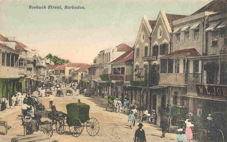 Roebuck Street, in Bridgetown, Barbados, as it would have looked to Cathy when she arrived there. This is also the street where Adam later had an office.