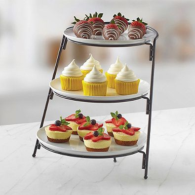 Crafted from 100% porcelain, this 3-Tier Server from B. Smith with graduated size plates are highly durable and make for a pleasant appearance. These plates are dishwasher and microwave safe and can be used for all dining purposes.