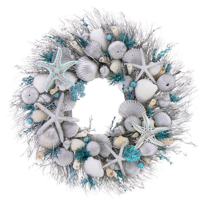 wreaths from dollar store, silver spray paint, and sea decor and - beach themed christmas decorations