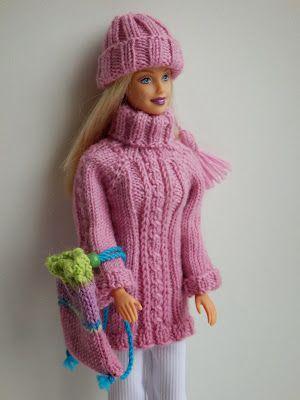 Coltrui met kabel op voorpand en mouwen, muts en rugzak voor Barbie.