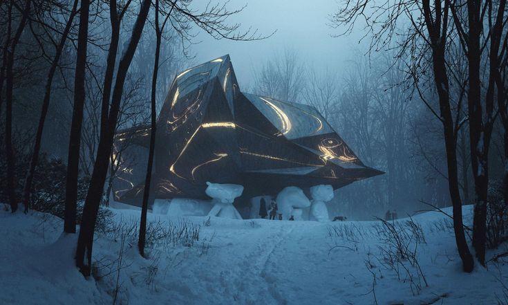 Snøhetta navrhla donorského lesa dům připomínající právě spadlý meteorit