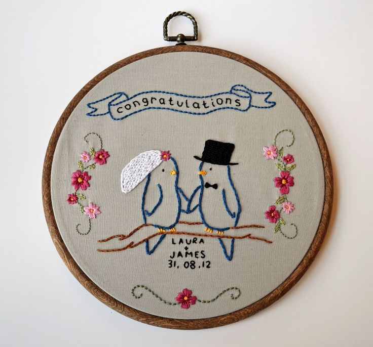 This embroidery was created as a gift for a lovely couple. The pattern is drawn by myself. You can see more about this embroidery here: misspixiecrafts.blogspot.co.uk/2012/09/two-little-wedding...