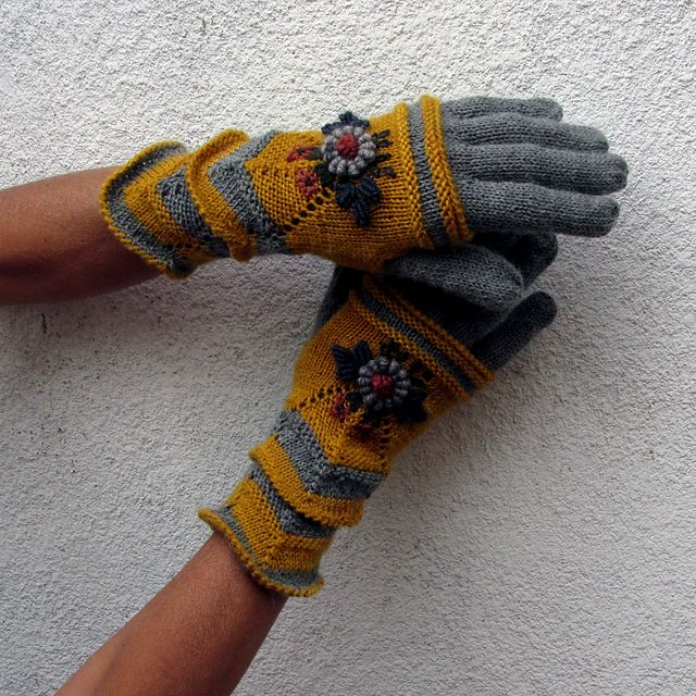 """Ravelry: dom-klary's Grey Floral Emborided Gloves with mittens, """"Four Seasons"""" in Fair Isle and Muhu Style"""