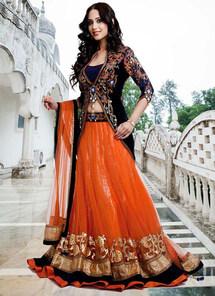 Dazzling #Orange Long #Choli #Lehenga