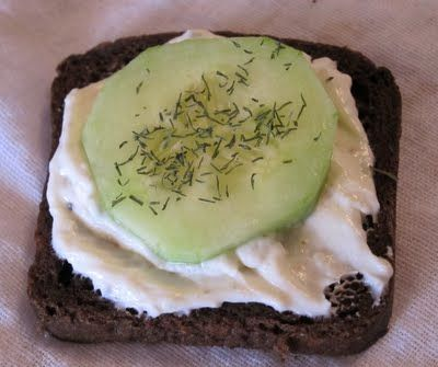 Italian dressing mix, cream cheese, mayo, loaf of party pumpernickel, cucumber, (dill weed)