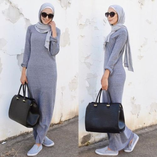 Sporty hijab in winter grey dress and sneakers-How to be elegant hijabista – Just Trendy Girls