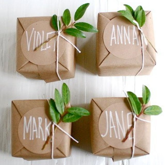 Wrap #wedding #favours in brown paper and add string & foliage from the garden #Budget #Wedding ... Best Wedding #App ... The how, when, where & why of wedding planning for brides, grooms, parents & planners ... https://itunes.apple.com/us/app/the-gold-wedding-planner/id498112599?ls=1=8 … plus lots of #budget wedding ideas ♥ The Gold Wedding Planner iPhone App ♥ http://pinterest.com/groomsandbrides/boards/