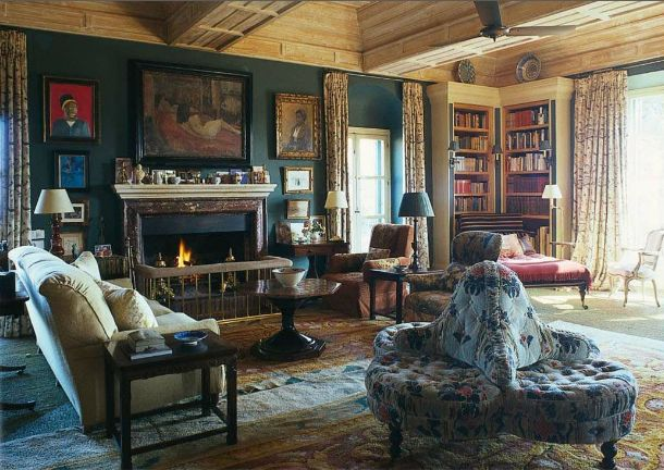 Rich And Beautiful Teal Walls English Country Style Living Room Featured In World Of Interiors From UK