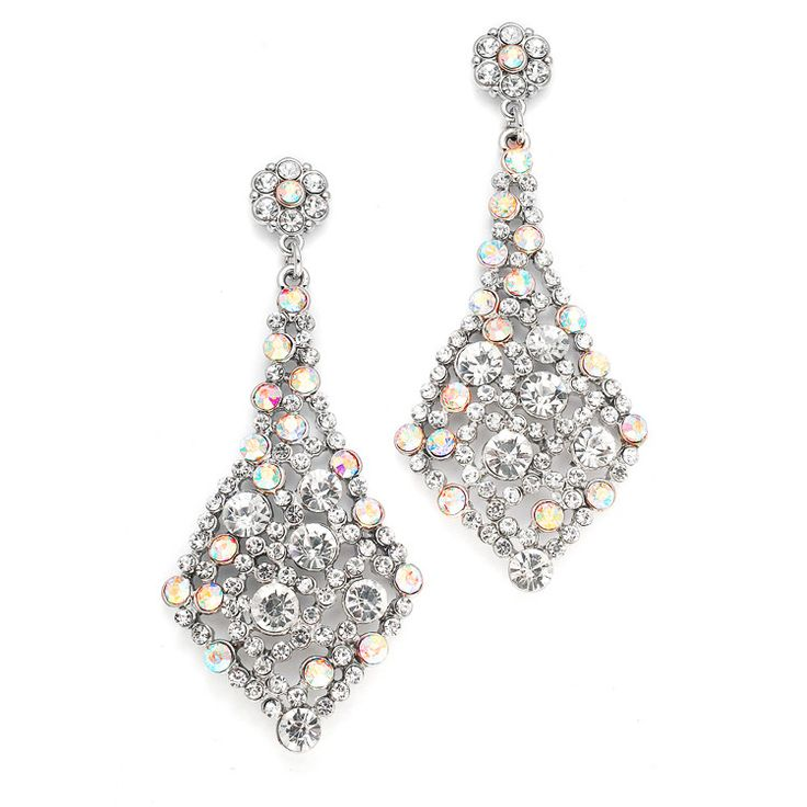 Iridescent Ab Crystal Bridal Or Prom Earrings