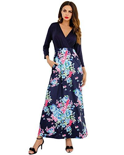 4e3987bc6acaf9 GIKING Women s Vintage V Neck 3 4 Sleeve Floral Print Casual Long Sleeve  Maxi Dress
