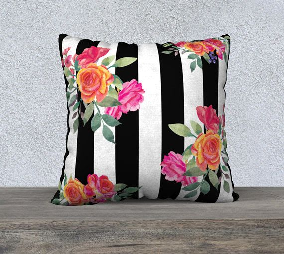 Black White Stripe With Watercolor Flowers Pillow Coverthrow