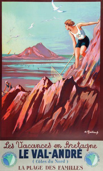 chemins de fer de l'état - Les vacances en Bretagne - Le Val-André - Côtes-du-Nord - illustration de A. Galland - France -