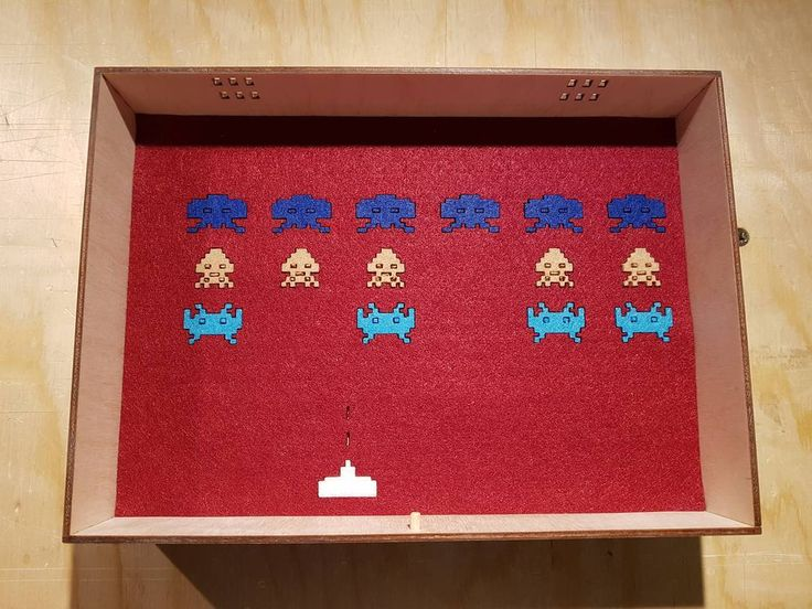 Space invader felt inlay for a box. #indukudesign
