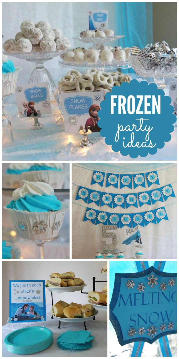 This Frozen girl birthday party includes Snowballs, Frozen hearts, Kristoff's Ice and Melting Snow punch!  See more party planning ideas at CatchMyParty.com!