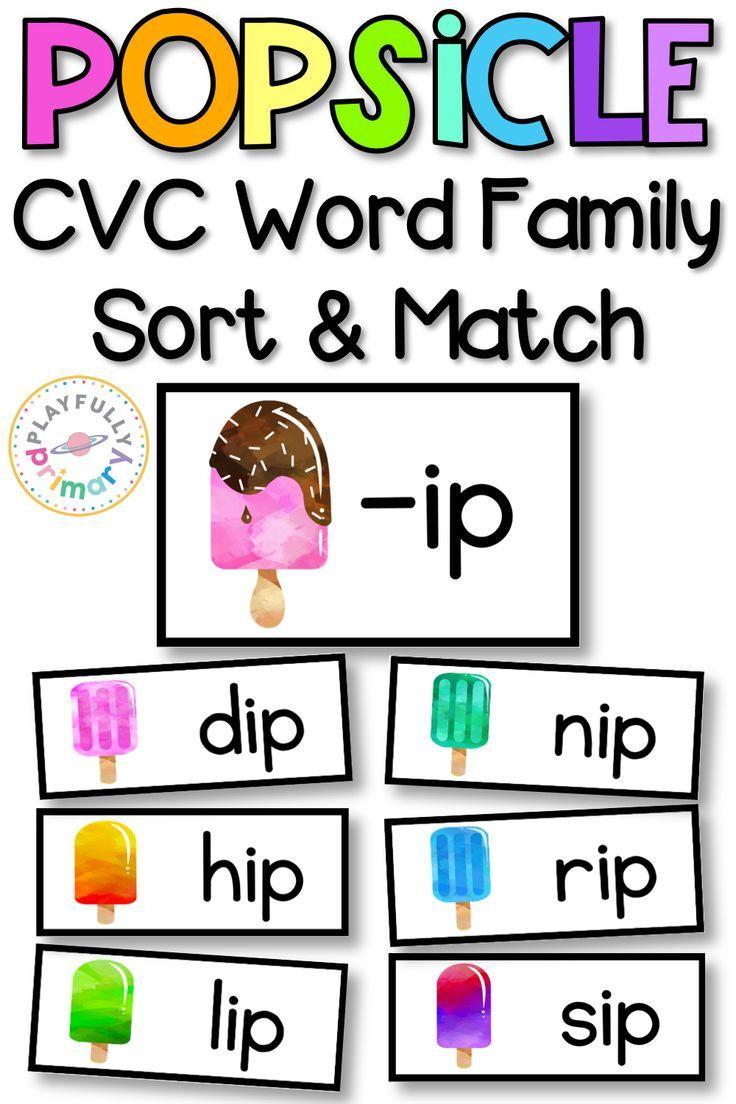 Popsicle Cvc Word Family Sort Match Word Families Cvc Word Families Cvc Words [ 1104 x 736 Pixel ]