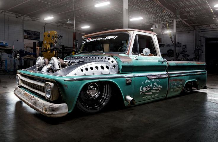 """This is our twin-turbo 1966 Chevrolet C10 built by us at Classic Car Studio in Saint Louis, MO. It has a LS1 V8 with LS6 heads and a set of mirror image 64mm Nelson Racing turbos. It features a Holley Performance Products Dominator EFI system with a Sniper intake manifold, Dominator ECU, 105mm throttle body, 7-inch touch screen display, and a VR2 brushless fuel pump. The truck also has a flex-fuel sensor, so while it runs on pump gas for the most part, so we can fill it with E85 without…"