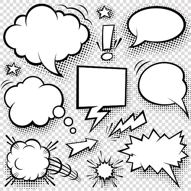 Comic bubbles and elements vector art illustration
