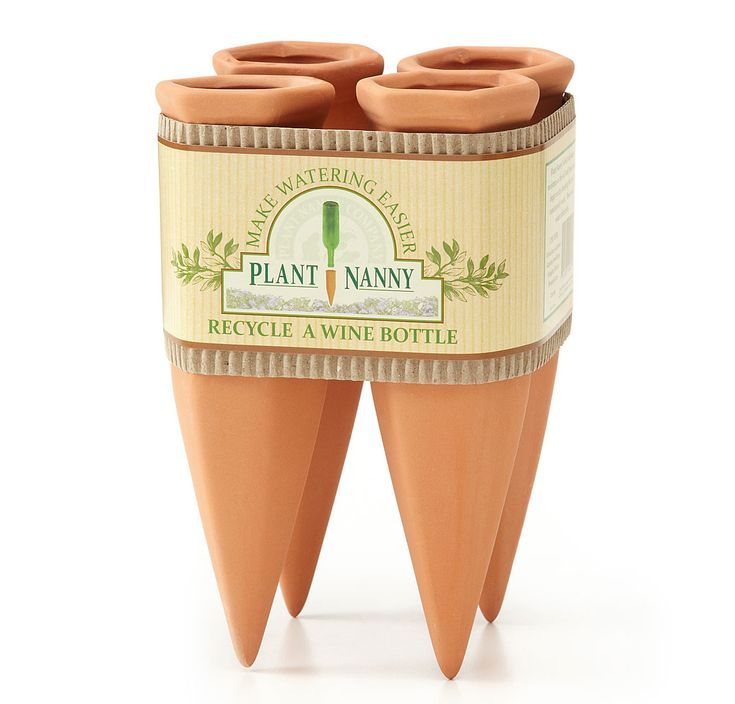 PLANT NANNY WATERER - terracotta spikes that fit a standard wine bottle. I LOVE THESE because the work!!!!!!