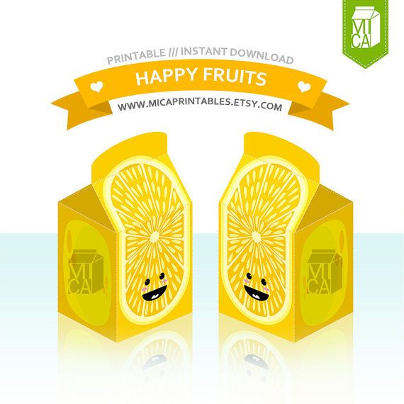 Happy Fruits Printable Party Favor Treat Gift by MicaPrintables #lemonade #yellow #favor #box
