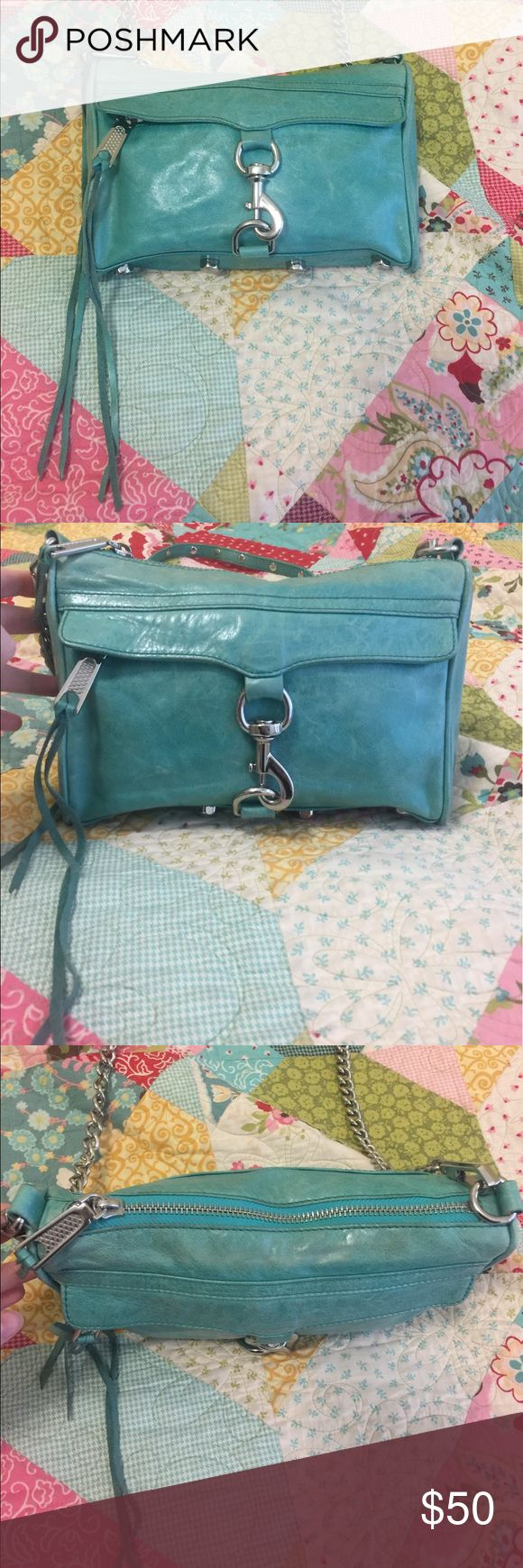 Teal Rebecca Minkoff Mini MAC Handbag Genuine Rebecca Minkoff Teal Mini MAC Bag. Smoke free and pet free home. Slight fading due to use but in great condition. Feel free to use the offer button! Rebecca Minkoff Bags Crossbody Bags