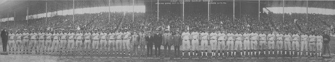 The first Colored World Series in 1924 between the Negro National League champion Kansas City Monarchs and the Eastern Colored League champion Hilldale. The Monarchs defeated Hilldale 5 games to 4. Five members of the Baseball Hall of Fame participated in the series