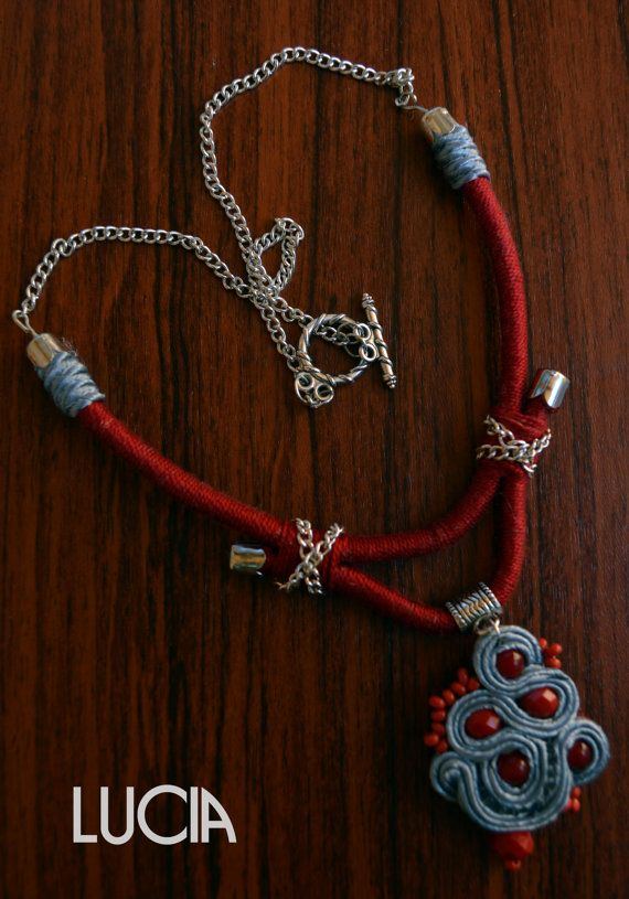 Red and grey soutache necklace by LuciaProducts on Etsy