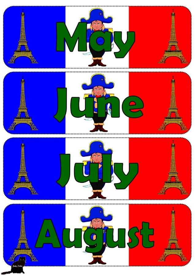Flag of France themed days of the week and months of the year.  Download for £3 here at:  https://www.tes.com/teaching-resource/flag-of-france-themed-pack-11334847