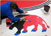 Producing painted Indian Tee-pees