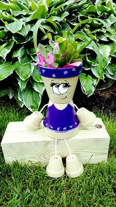 Purple Clay Pot Person / Flower Pot Large by JustKraftz on Etsy