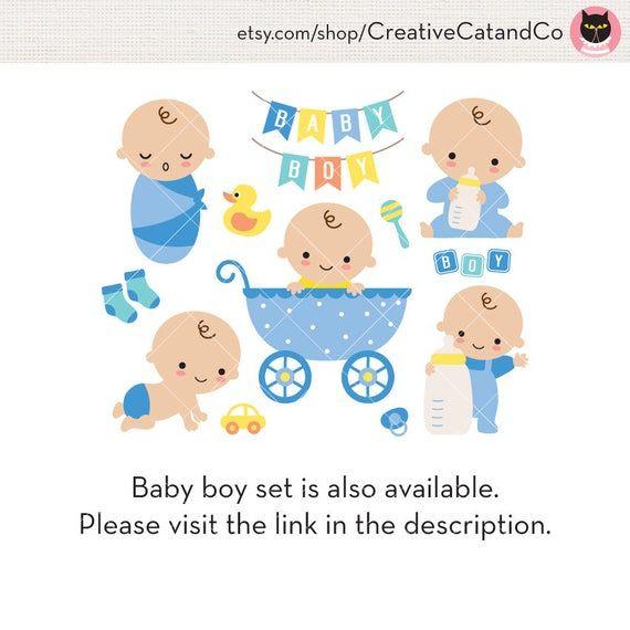 Baby Girl Shower Clipart Clip Art Cute Baby Girl in Stroller with Milk Bottle Birthday Invitation Ba