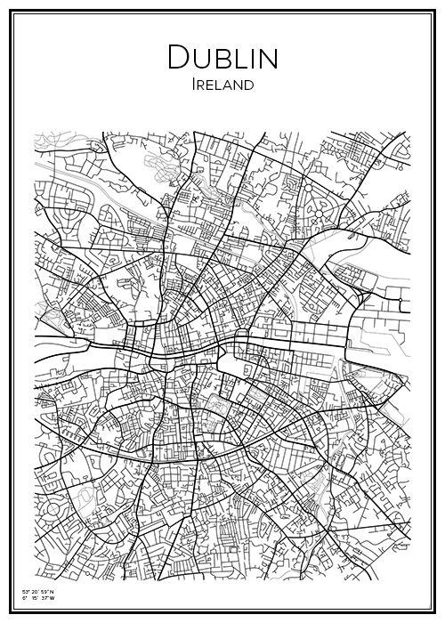 Dublin. Ireland. Karta. City print. Map. Print. Affisch. Tavla. Tryck.