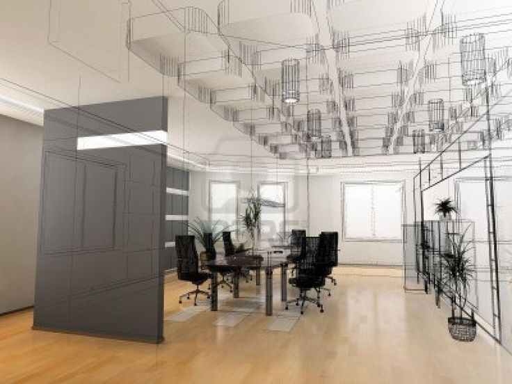 Interior Design Office Sketches the modern office interior design sketch (3d render) stock photo