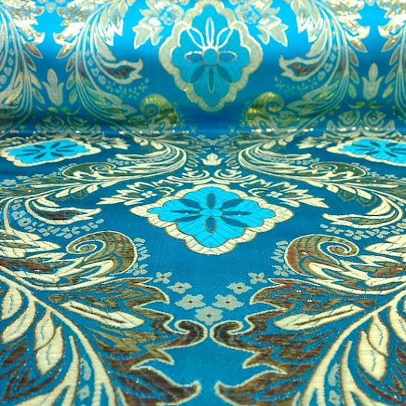 Turquoise / Gold Metallic Floral Brocade Fabric by FabricSupplier