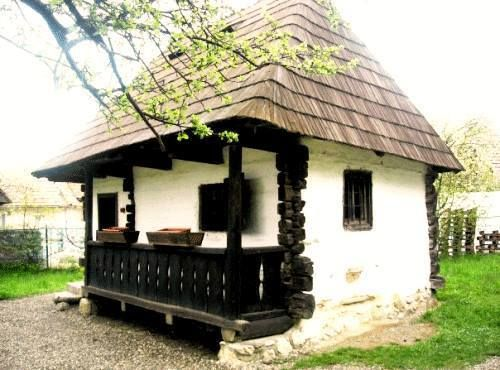 tiny old Romanian traditional countryside house