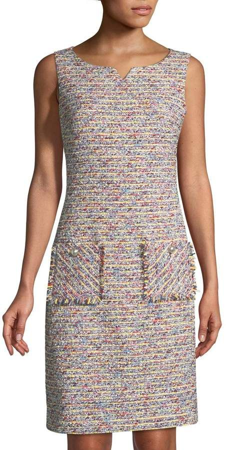 Karl Lagerfeld Ärmelloses Tweed Etuikleid   – Products