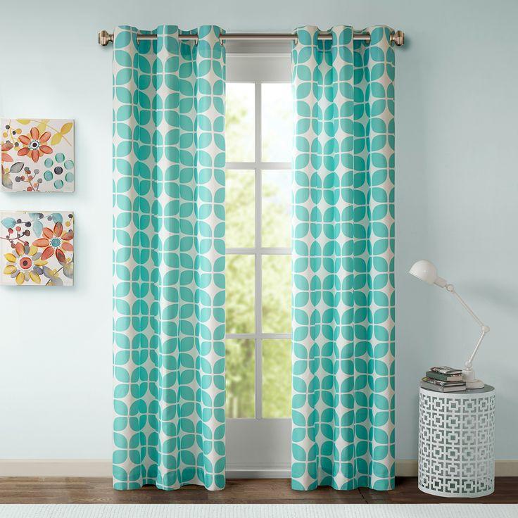 """Sonya Geometric Curtain Panel Pair - Aqua (42""""x84""""), Acquit Aqua"""