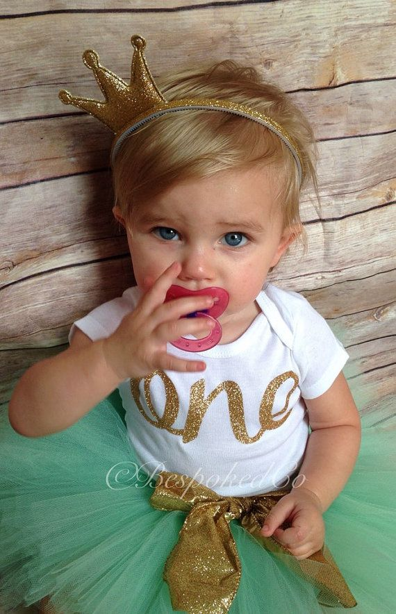 Mint and Gold First Birthday outfit/Mint and Gold by BespokedCo