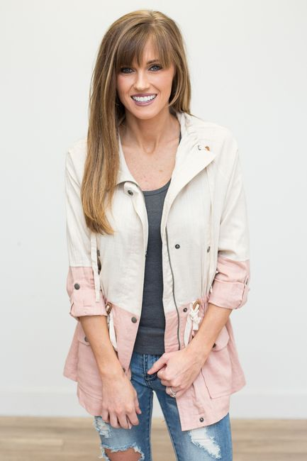 Shop our Colorblock Knit Utility Jacket in Dusty Pink/Beige. The perfect lightweight jacket for spring! Free shipping on all US orders!